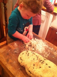 Making bread with grandson Chester