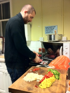 Chris Catterall, TRO's managing director, preparing a Reader Lunch, in the Olden Days